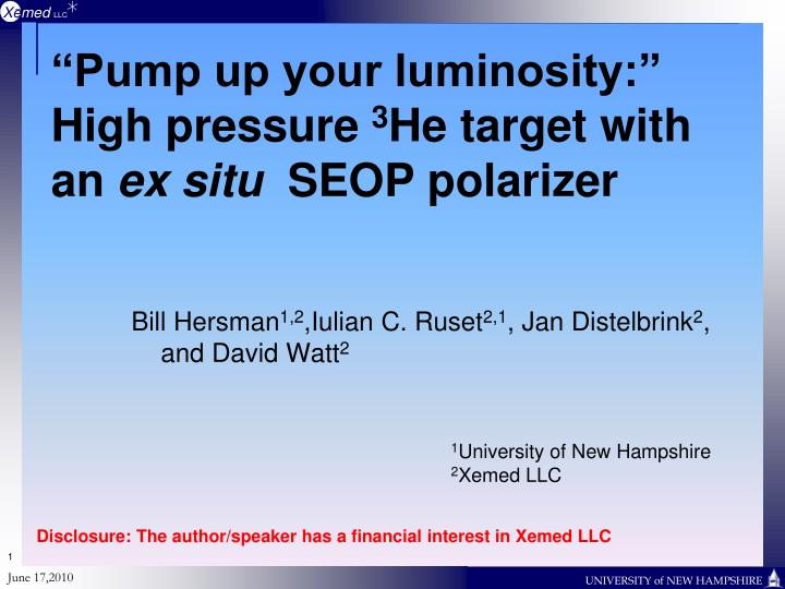 pump up your luminosity high pressure 3 he target with an ex situ seop polarizer n.