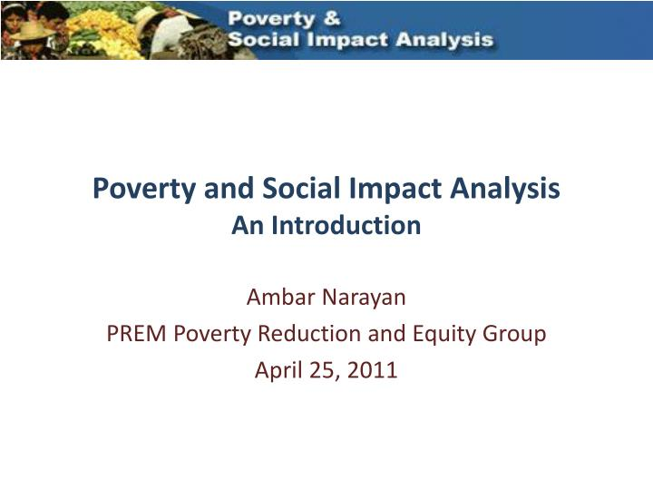 an introduction to the analysis of poverty