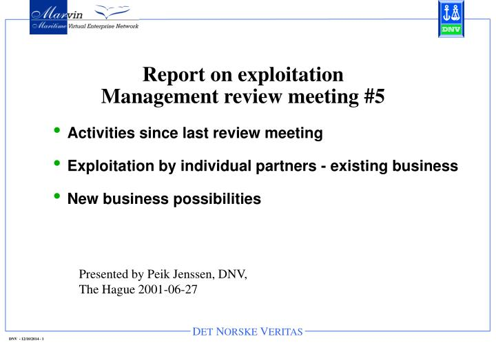 report on exploitation management review meeting 5 n.