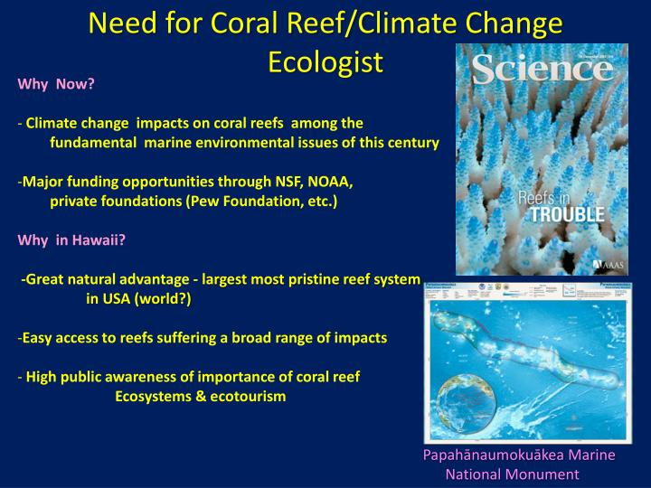 need for coral reef climate change ecologist n.