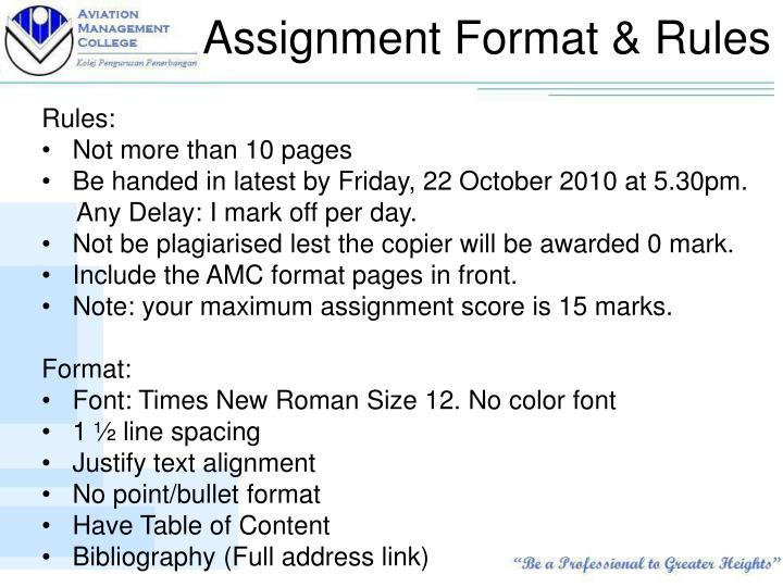 Assignment format rules