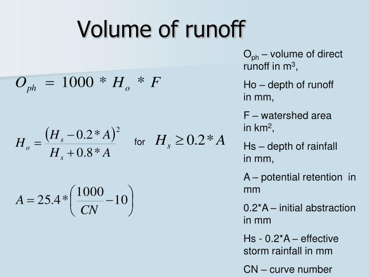 Volume of runoff
