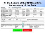 at the bottom of the tdtr confirm the accuracy of the data