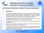 betting and anti corruption adopted published july 2013