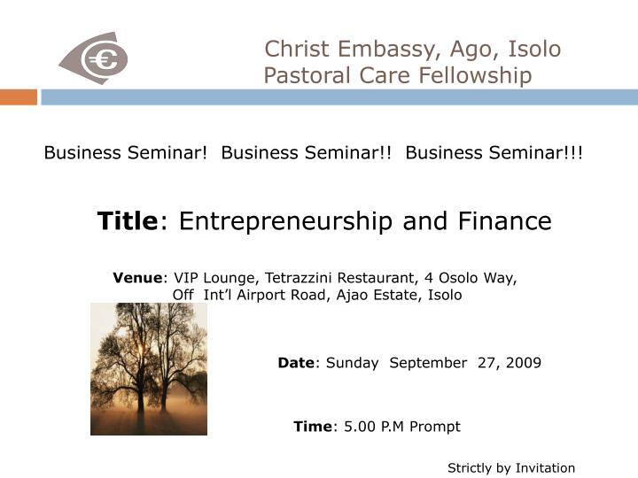 christ embassy ago isolo pastoral care fellowship n.