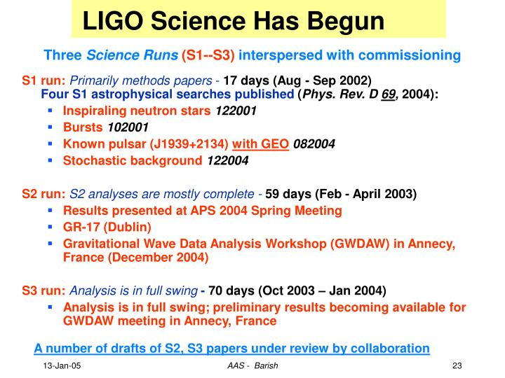 LIGO Science Has Begun