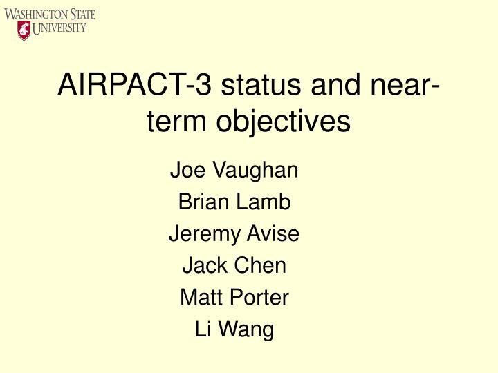 airpact 3 status and near term objectives n.