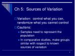 ch 5 sources of variation