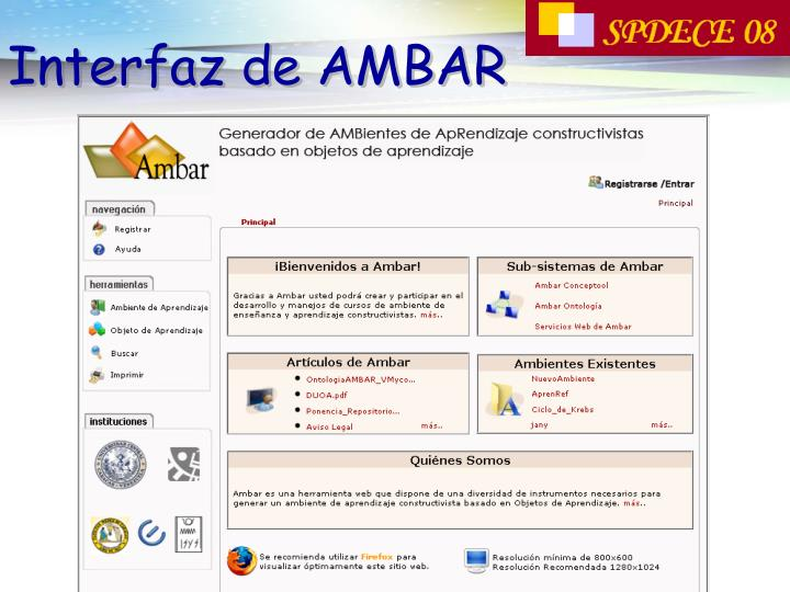 Interfaz de AMBAR