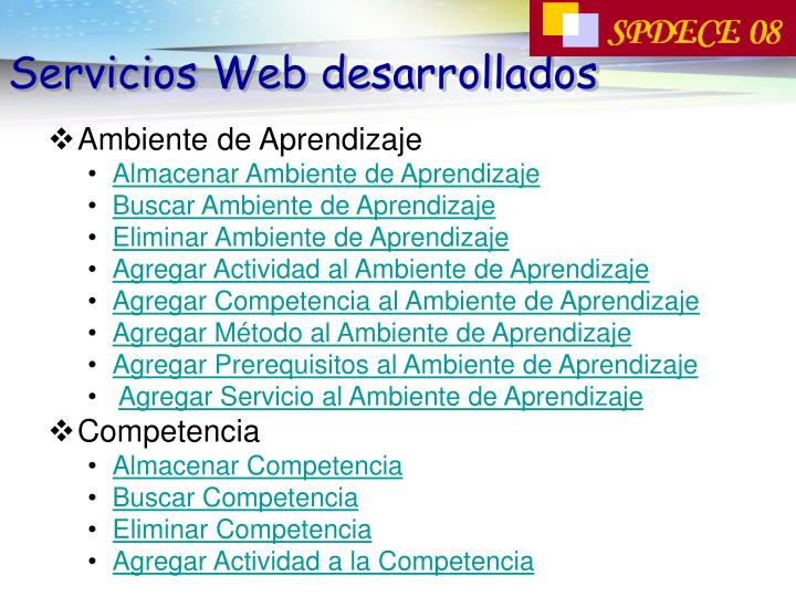 Servicios Web desarrollados