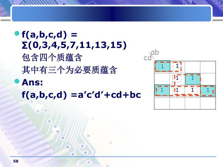 f(a,b,c,d) =