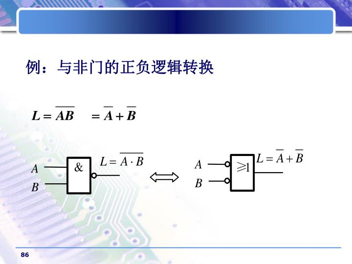 例:与非门的正负逻辑转换