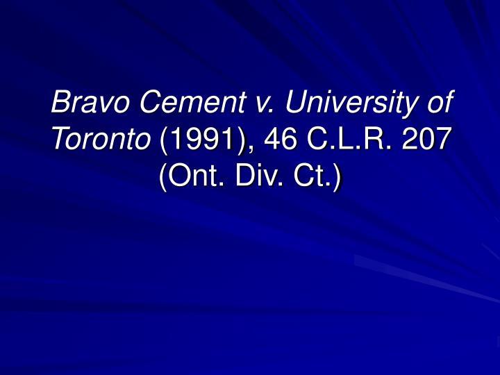 Bravo Cement v. University of Toronto