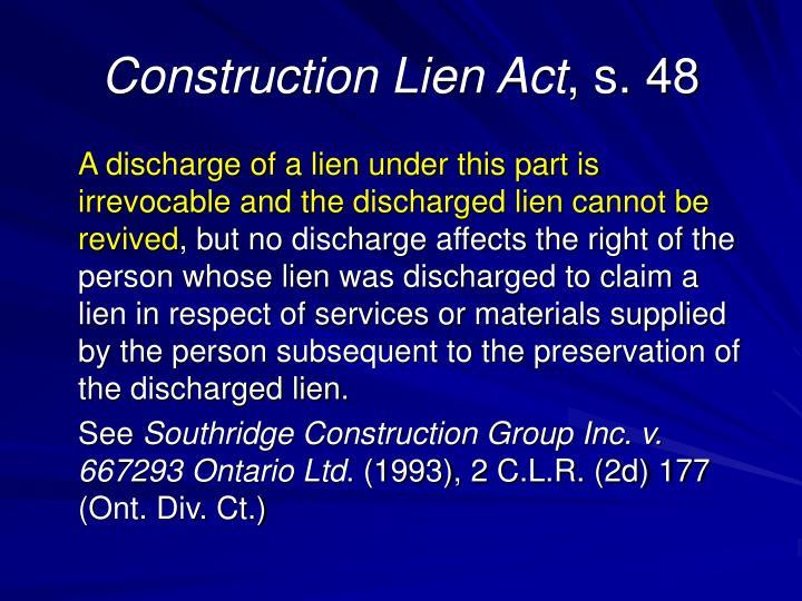 Construction Lien Act