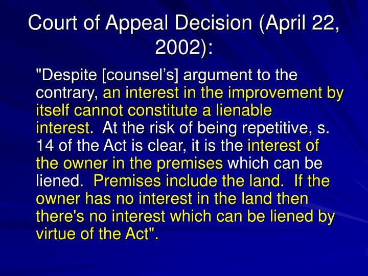 Court of Appeal Decision (April 22, 2002):