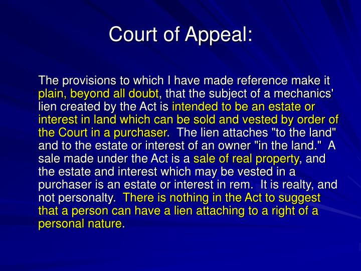 Court of Appeal: