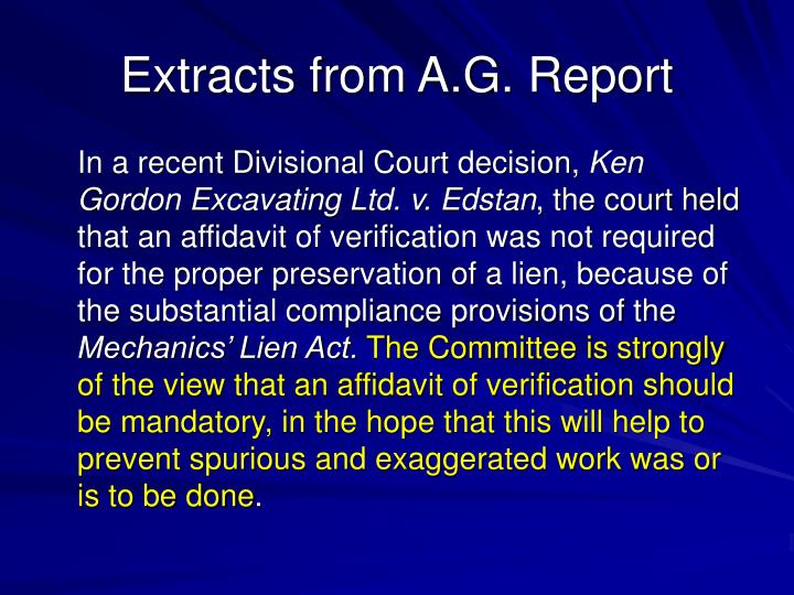 Extracts from A.G. Report