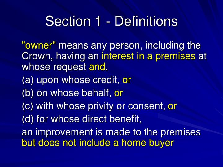 Section 1 - Definitions