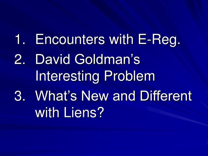 1. Encounters with E-Reg.