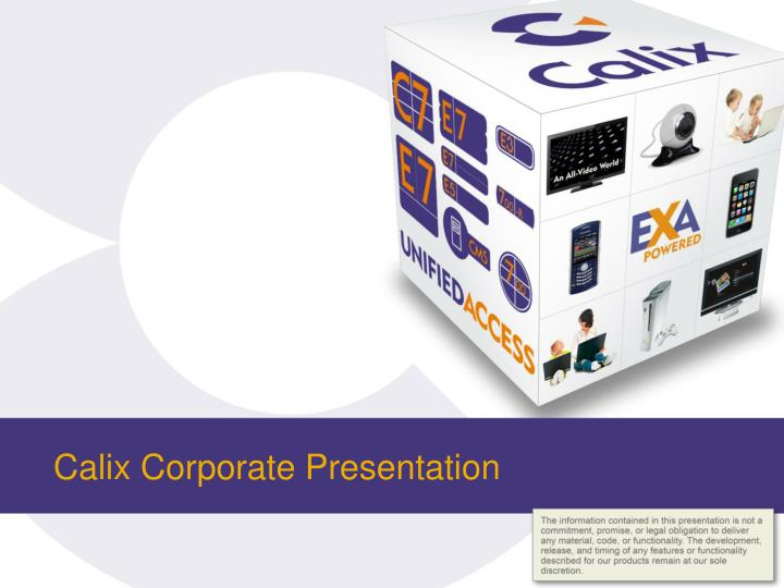 calix corporate presentation n.