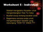 worksheet 5 individual