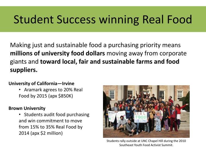 Student Success winning Real Food