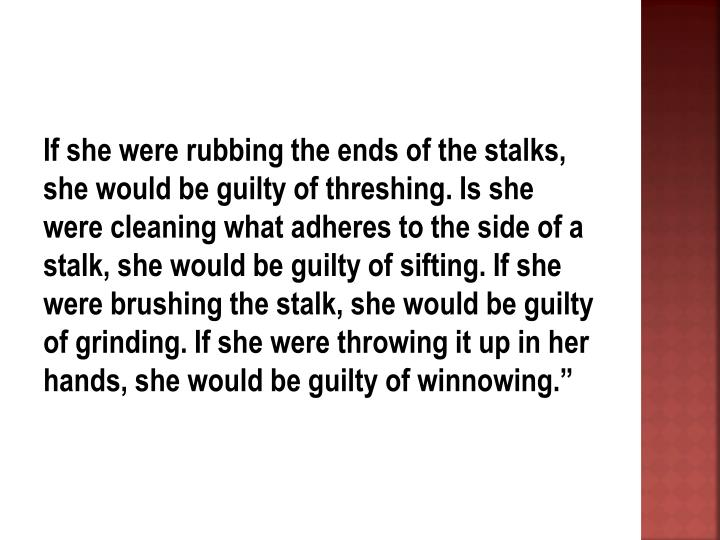 """If she were rubbing the ends of the stalks, she would be guilty of threshing. Is she were cleaning what adheres to the side of a stalk, she would be guilty of sifting. If she were brushing the stalk, she would be guilty of grinding. If she were throwing it up in her hands, she would be guilty of winnowing."""""""
