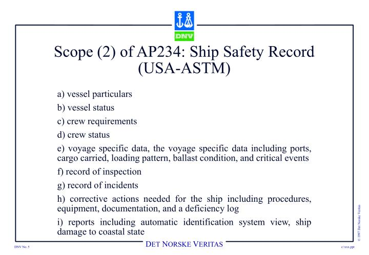 Scope (2) of AP234: Ship Safety Record