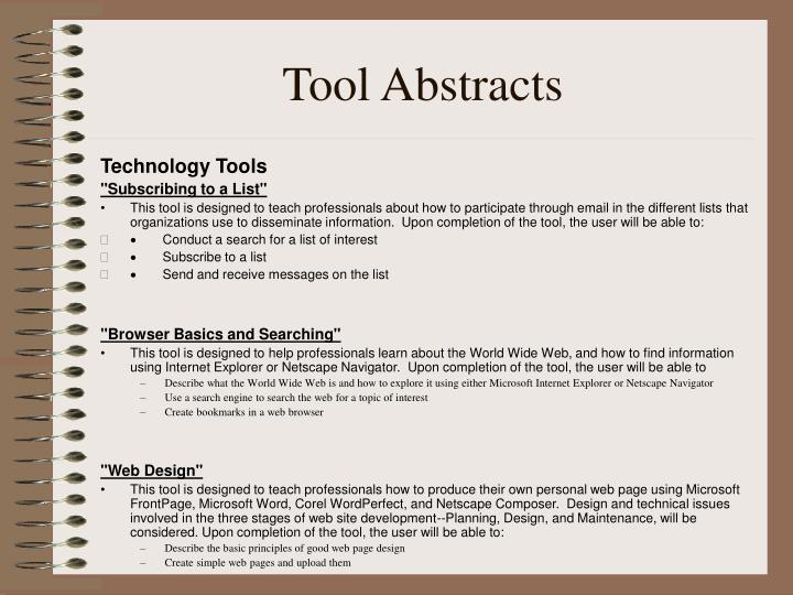 Tool Abstracts