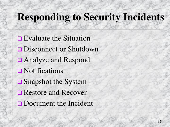 Responding to Security Incidents