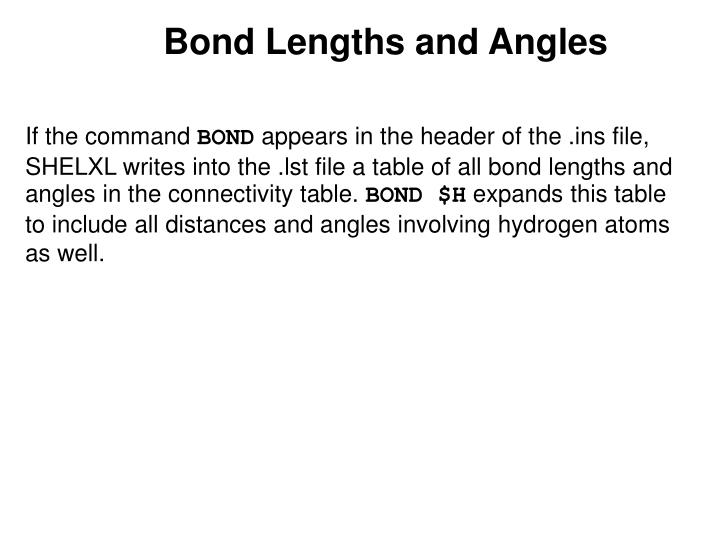 Bond Lengths and Angles