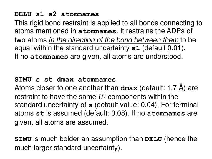 DELU s1 s2 atomnames