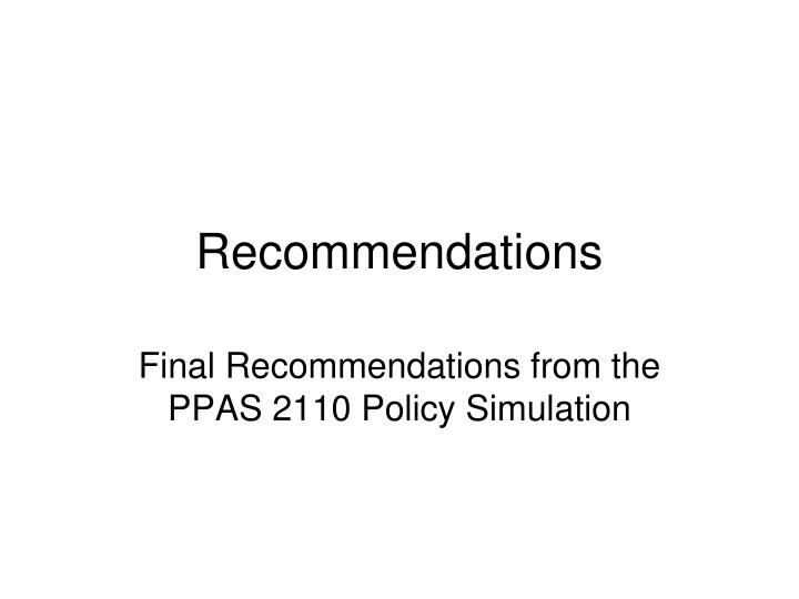 recommendations n.