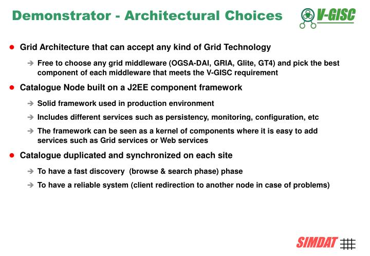 Demonstrator - Architectural Choices
