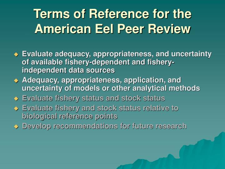 terms of reference for the american eel peer review n.