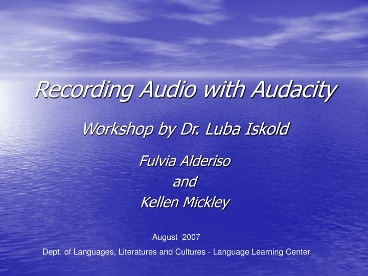 recording audio with audacity n.
