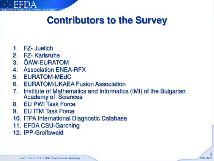 Contributors to the survey