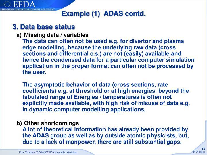 Example (1)  ADAS contd.