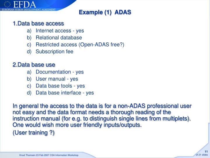 Example (1)  ADAS