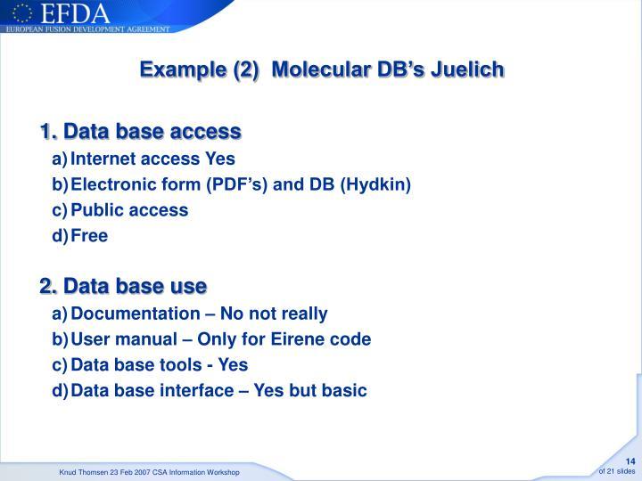 Example (2)  Molecular DB's Juelich