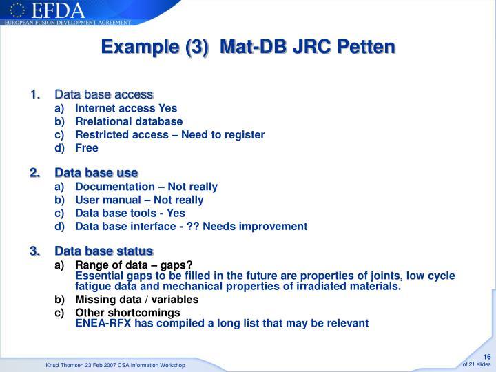 Example (3)  Mat-DB JRC Petten