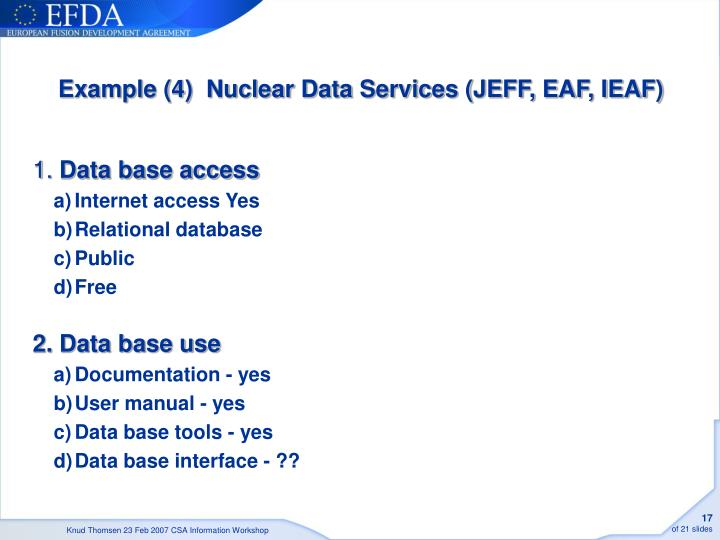 Example (4)  Nuclear Data Services (JEFF, EAF, IEAF)