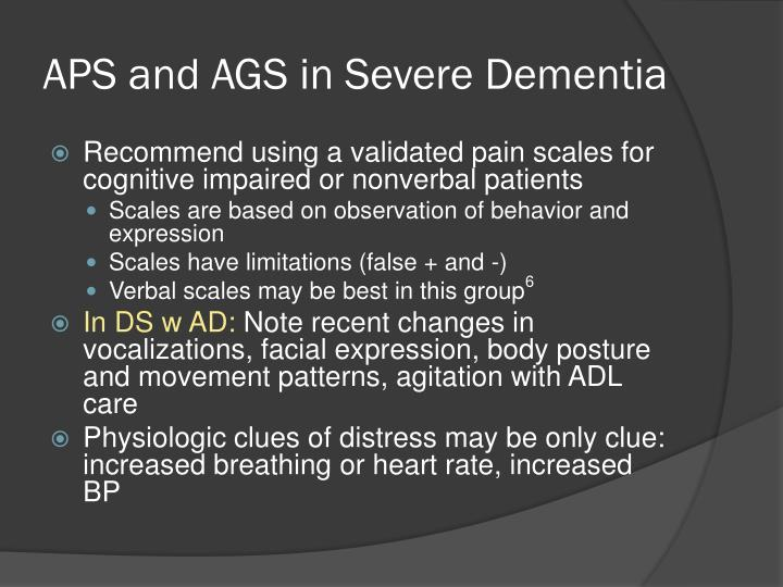 APS and AGS in Severe Dementia