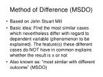 method of difference msdo