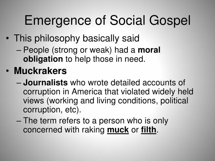 Emergence of social gospel