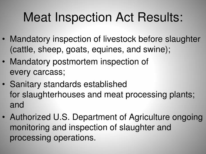 Meat Inspection Act Results:
