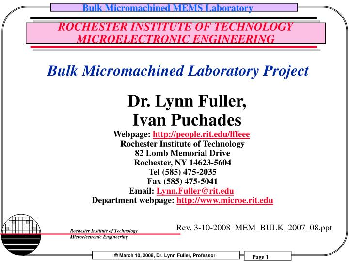 rochester institute of technology microelectronic engineering n.