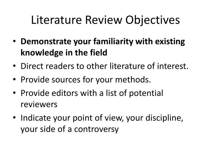 literature review objectives n.