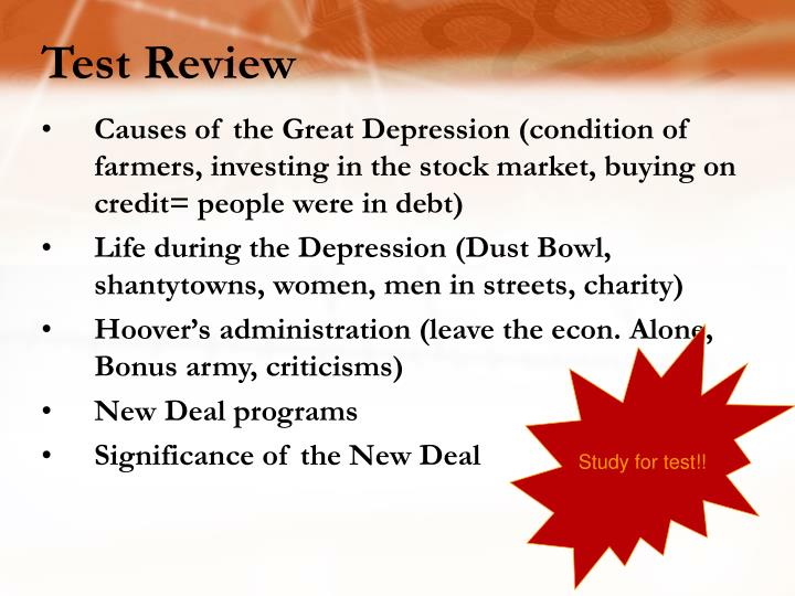 Causes of the Great Depression (condition of farmers, investing in the stock market, buying on credit= people were in debt)