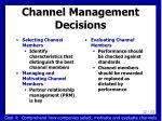 channel management decisions